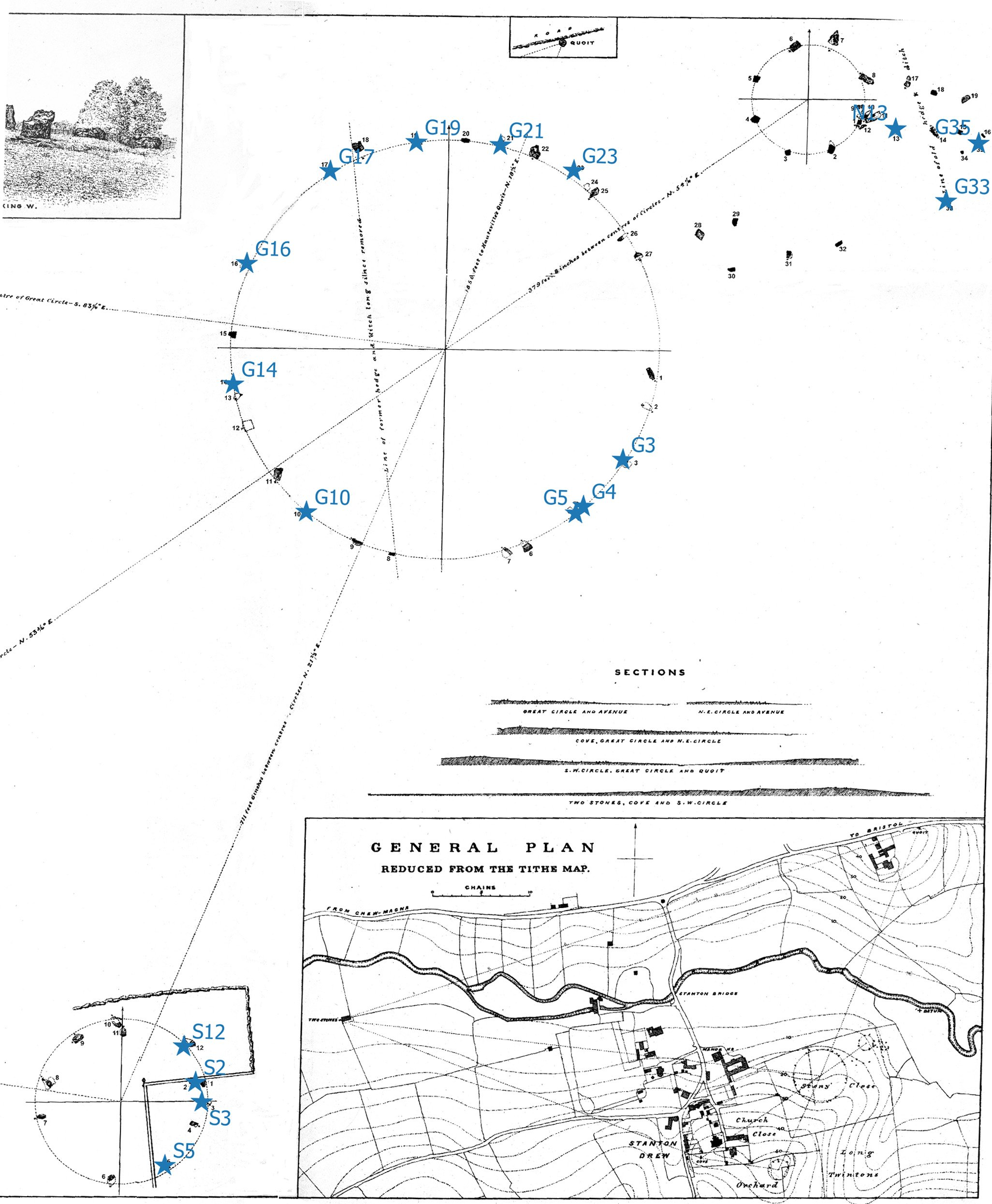 Dymond's 1896 plan with cleaned stones marked with stars